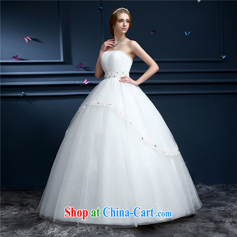 (Hong Kong, health, wedding dresses spring 2015 new Korean Korean-style smears chest simple shaggy dress with bridal wedding pregnant women through the code graphics thin white XL