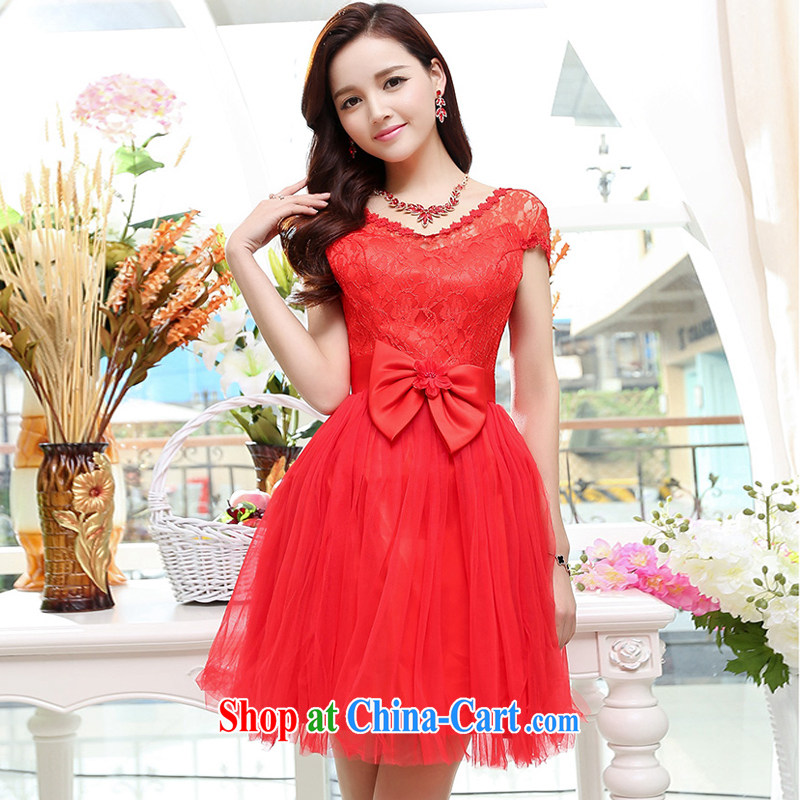 UYUK the new bride wedding toast serving bowtie high waist lace V collar Web shaggy dress bridal gown red XL