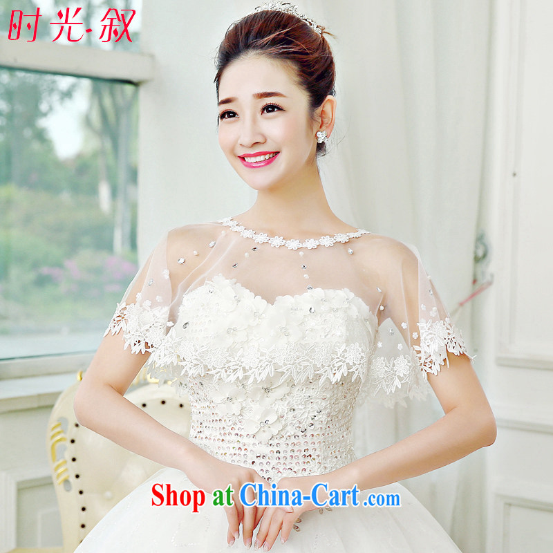 Time SYRIAN ARAB 2015 spring and summer bridal shawl new wedding dresses accessories white thin lace fluoroscopy shawls wood drill with flowers with white