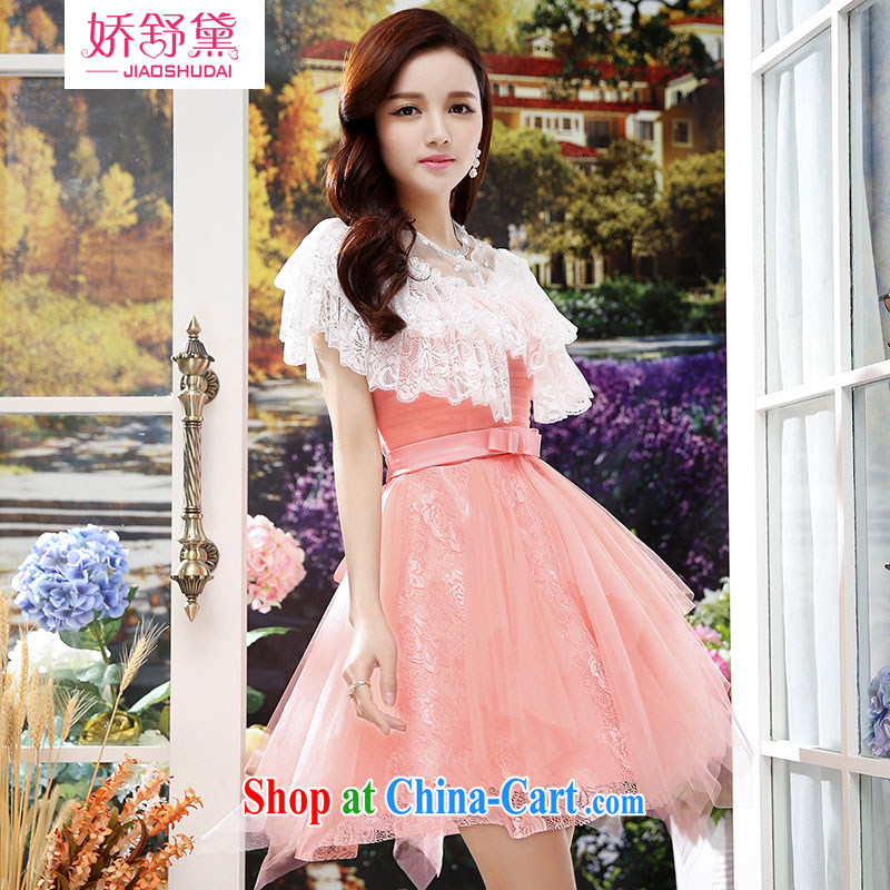 Air Shu Diana summer 2015 new to us and dresses dress lady, solid-colored lace high waist sleeveless dress pink XL