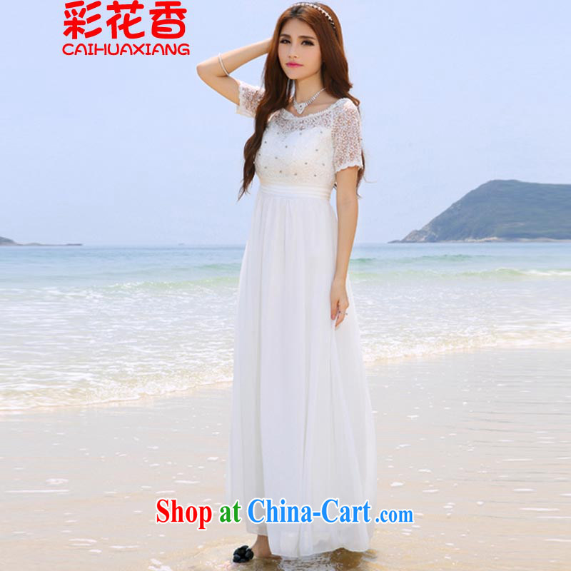 Colorful Flowers 2015 Korea Maldives beach dress wedding nails Pearl inserts drill dress long dress 8016 white XL