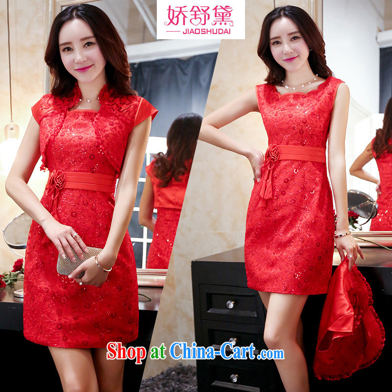 Air Shu Diana summer 2015 new dress code the dress wedding bridal dresses pregnant women replacing the door bows clothing bridesmaid dress red XXL