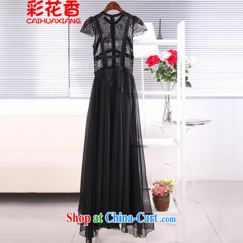 Colorful Flowers 2015 Korea Sin drag and drop to short-sleeved lace snow woven skirts/beach skirt suits skirts wedding 0998 black L
