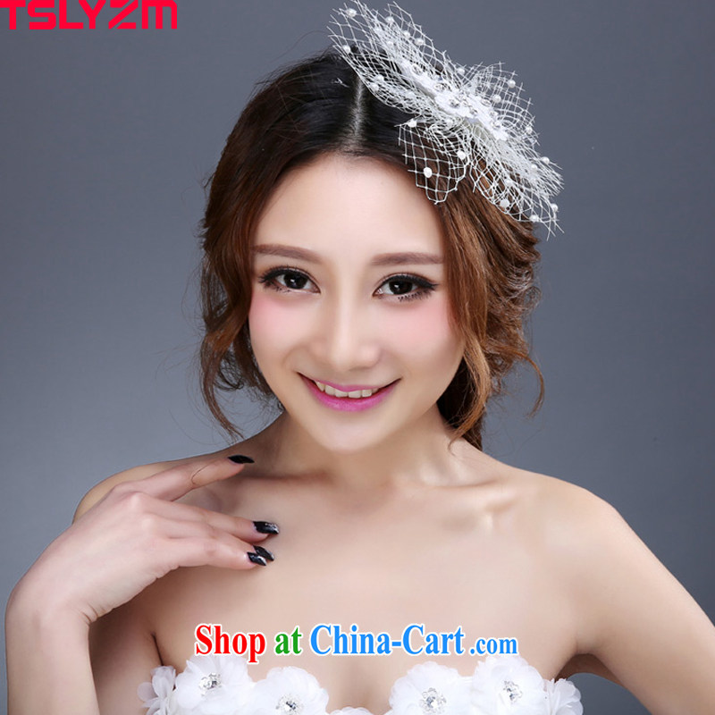 Tslyzm bridal head-dress bridesmaid Korean dress wedding accessories butterfly netting yarn water drilling Ballroom stage show photo building photo album and white