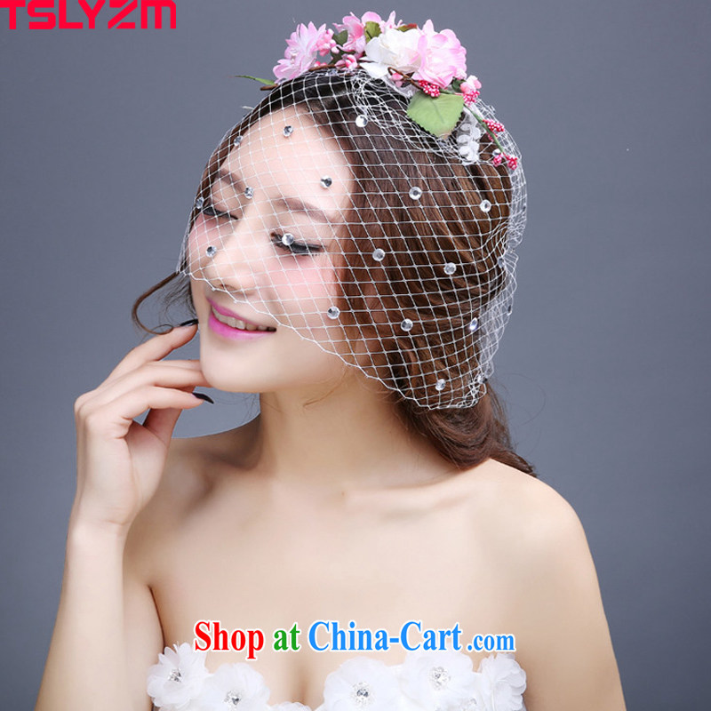 2015 Tslyzm New floral wreath bridal headdress ornaments spring and summer wedding dresses accessories fresh and only the US Web yarn water drill performances and pink