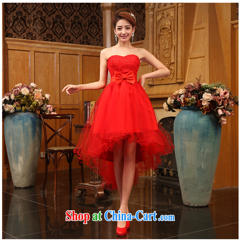 The beautiful yarn bare chest short grew up after the red lace short skirt tied with Korean Beauty serving toast. Floor 2015 New factory direct short skirts red customizable