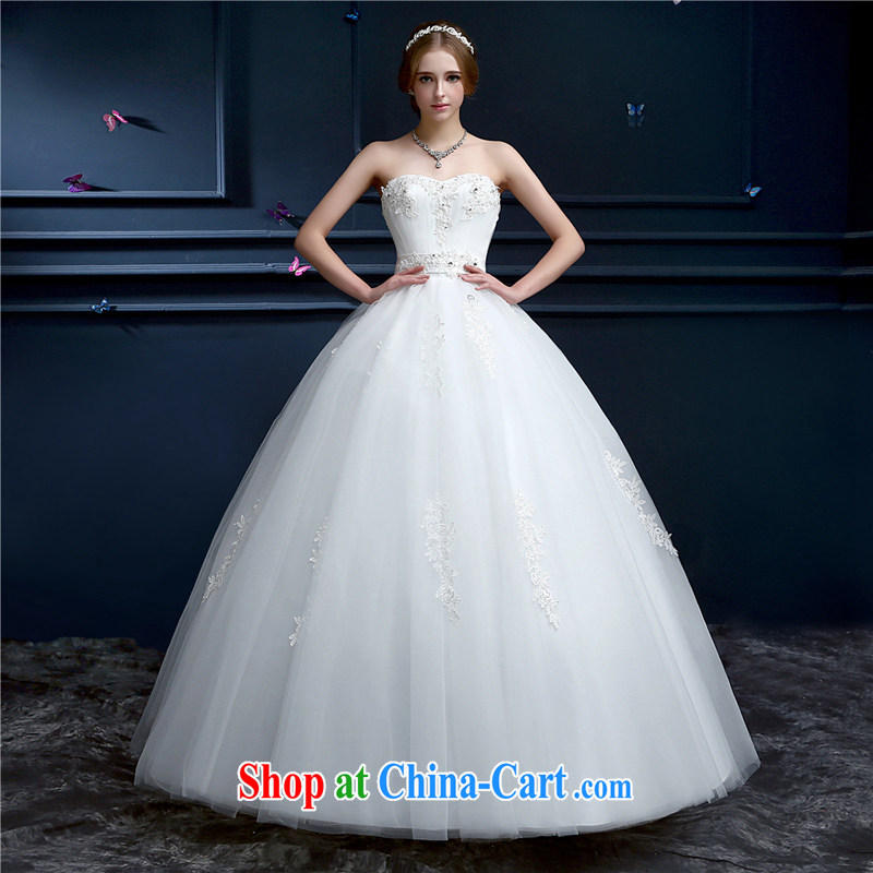 The Shannon Karen's wedding dresses 2015 new marriages chest bare white long tie-up beauty to the Code wedding Korean-style spring and summer white XXL