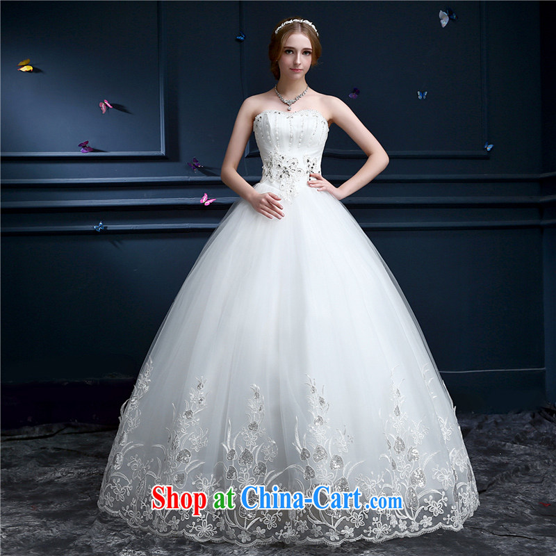 Hong Kong, Aaron. wedding dresses new 2015 spring and summer Korean Beauty graphics thin lace bare chest larger wedding Princess-bride video thin white XXL