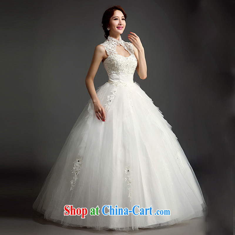 Ho full Chamber wedding dresses new 2015 modern Korean brides field shoulder back exposed lace straps with white white XL