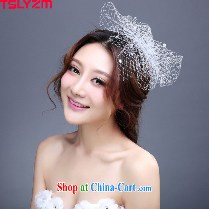 Tslyzm bridal wedding head-dress white floral dress with a yarn water drilling Old Shanghai style ballroom show photography photography bridesmaid head-dress white
