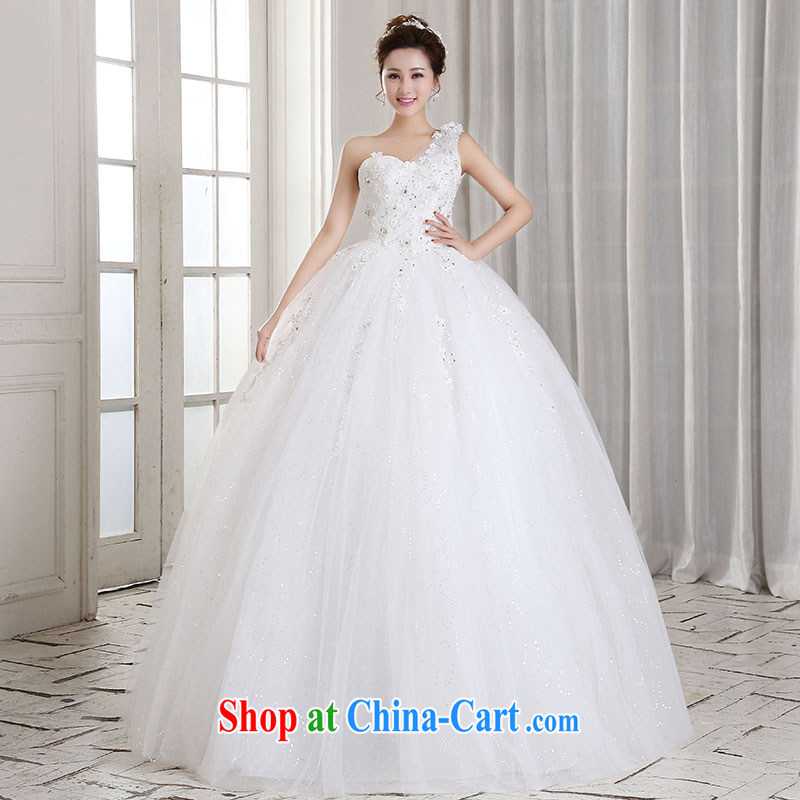 Jubilee 1000 bride 2015 new Korean single shoulder Princess flowers tied with a shoulder marriages with wedding lace wedding dresses H 310 white XL
