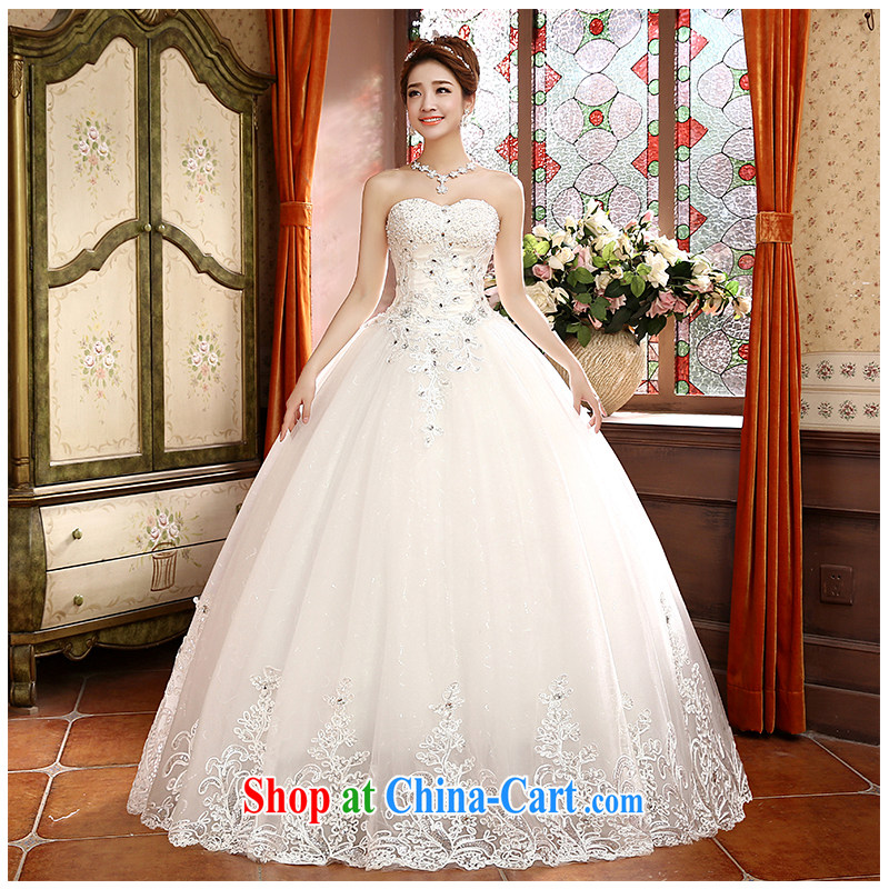 The beautiful yarn wiped his chest, wedding fashion korea-bound beauty with a video thin minimalist lace large code 2015 new direct wedding dresses in stock. White customizable