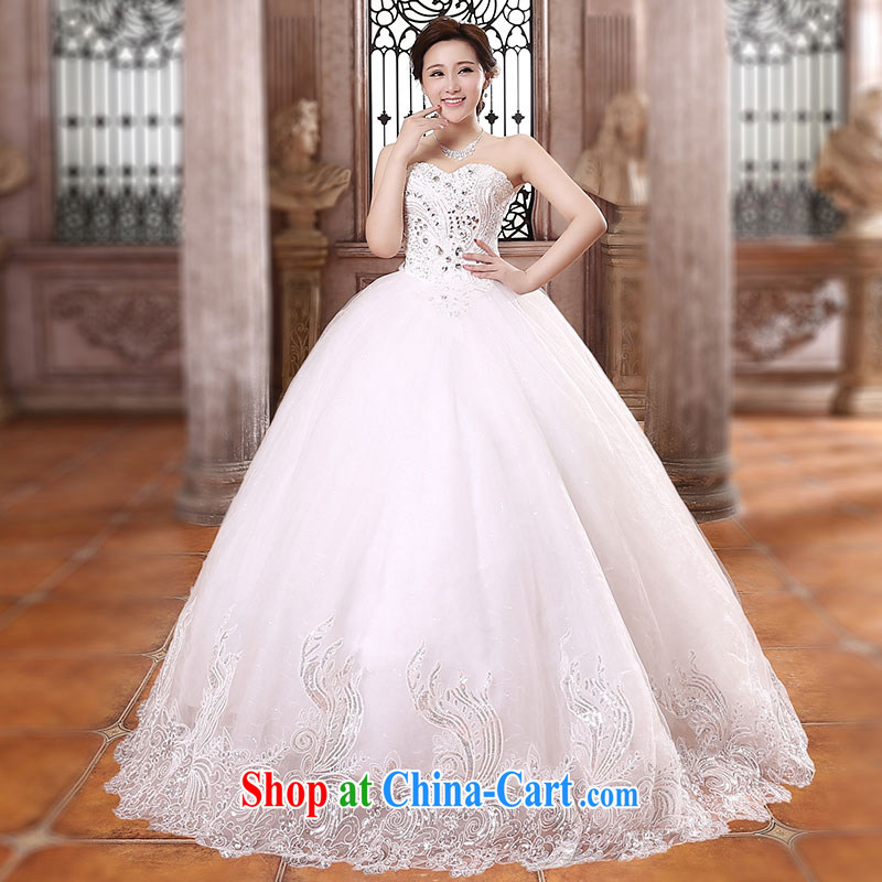 Jubilee 1000 bride 2015 spring and summer new Korean Beauty bridal wedding dresses Korean long-tail luxury light drill water drilling wedding H 901 to align paragraph XXL
