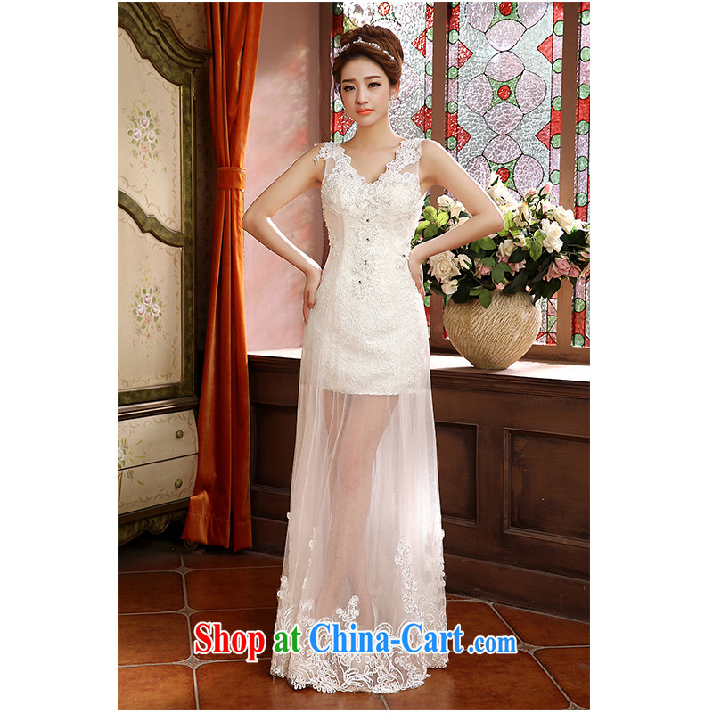 The beautiful yarn new dual-shoulder V for packages, and wedding new fluoroscopy lace lace straps simplicity of fashionable marriages wedding dresses white customizable
