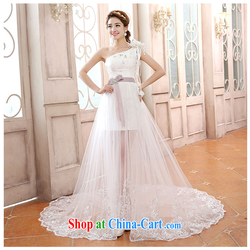 Click shoulder small-tail wedding lace-Front short long fluoroscopy trendy code tie-graphics thin bridal wedding dresses, beautiful yarn 2015 New factory direct white customizable