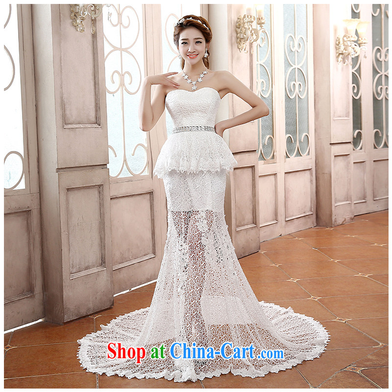 New bare chest cultivating crowsfoot translucent front Short, Long lace wedding toast service graphics thin large code tie-package and stylish and small tail with drill bridal wedding white customizable