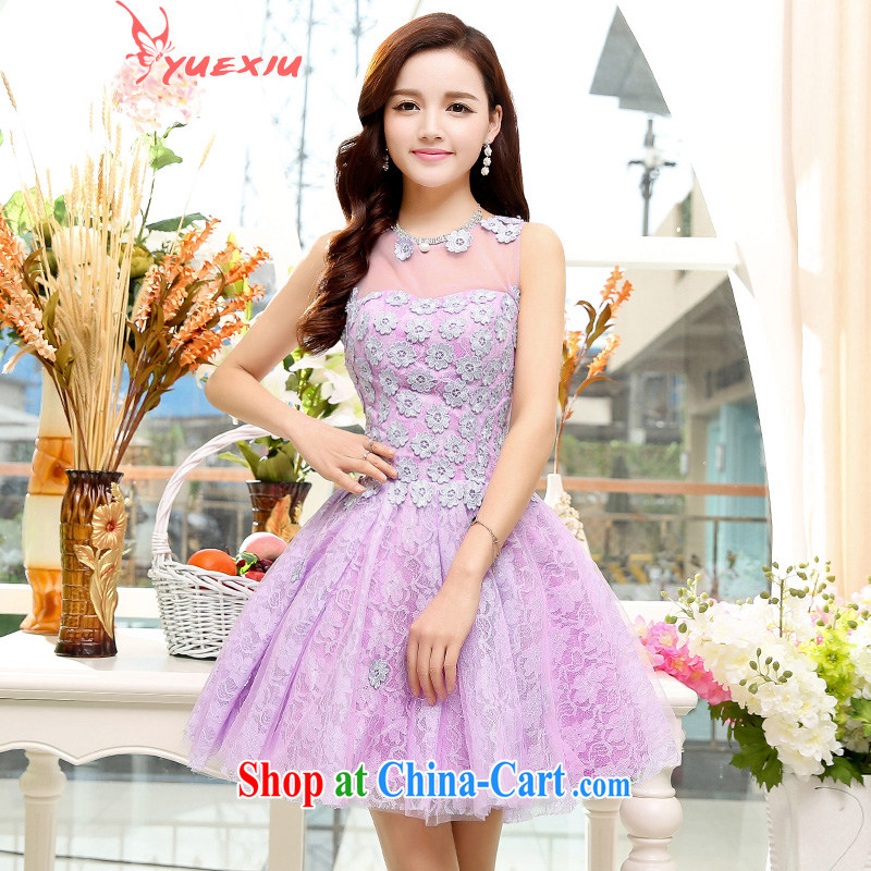 To show 2015 new stylish wedding wrapped chest bridal with lace-cultivating Adjustable size marriage bows dress short HC 551 light purple XL