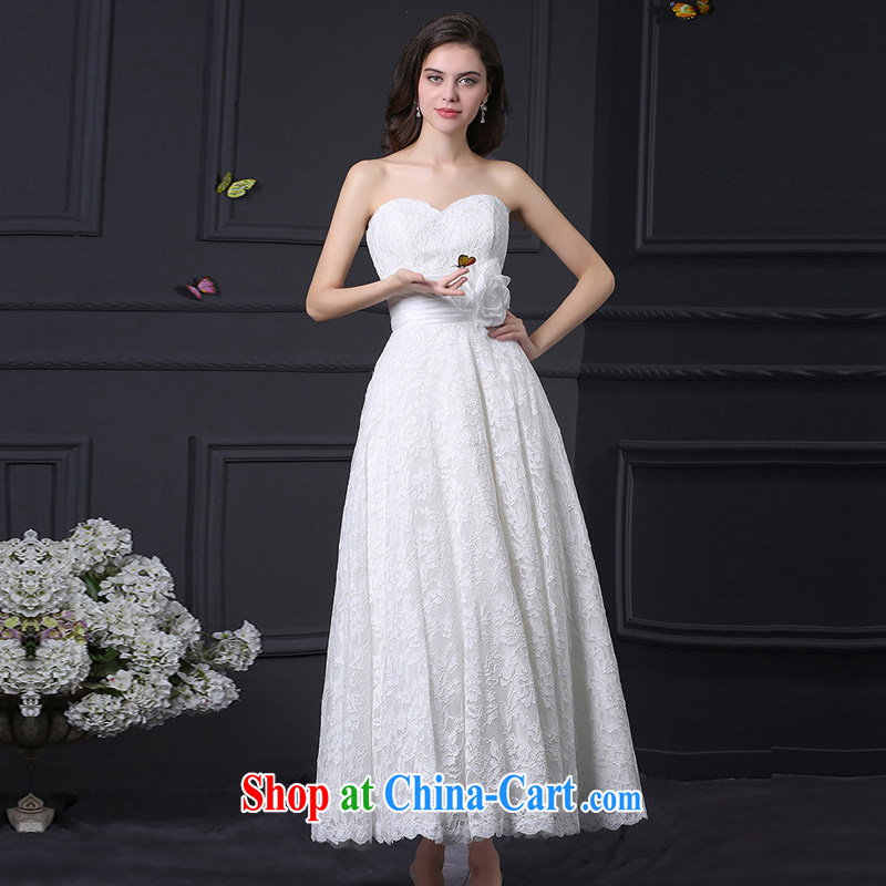 DressilyMe custom wedding dresses 2015 spring and summer new wedding dresses bare chest antique lace A Field dress short zipper bridal toast serving White - out of stock XL