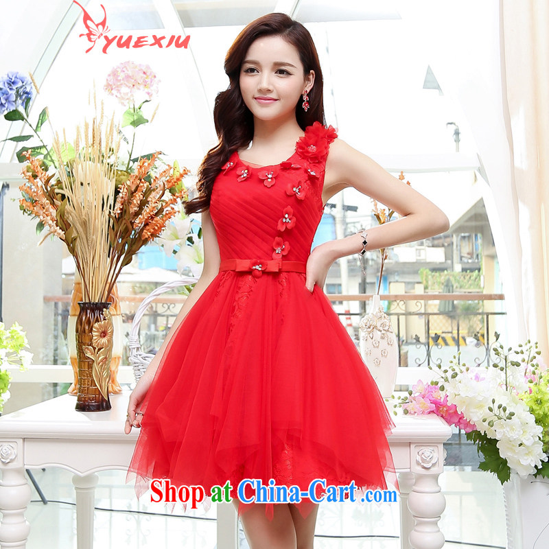 To show wedding 2015 new Adjustable size shaggy stylish bridesmaid marriage with toast clothing dress short dress uniforms HC 561 red XXL