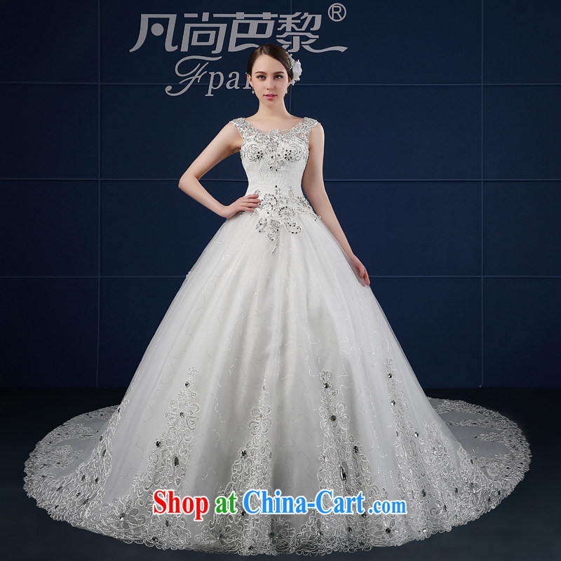 wedding dresses 2015 new spring and summer beauty drill Korean version the code package double-shoulder a shoulder bridal wedding summer trailing white XXL