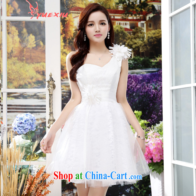 To show the shoulder wedding 2015 new stylish lace bare chest-waist Web yarn marriages with toast clothing bridesmaid serving women serving performances HC 565 white XL
