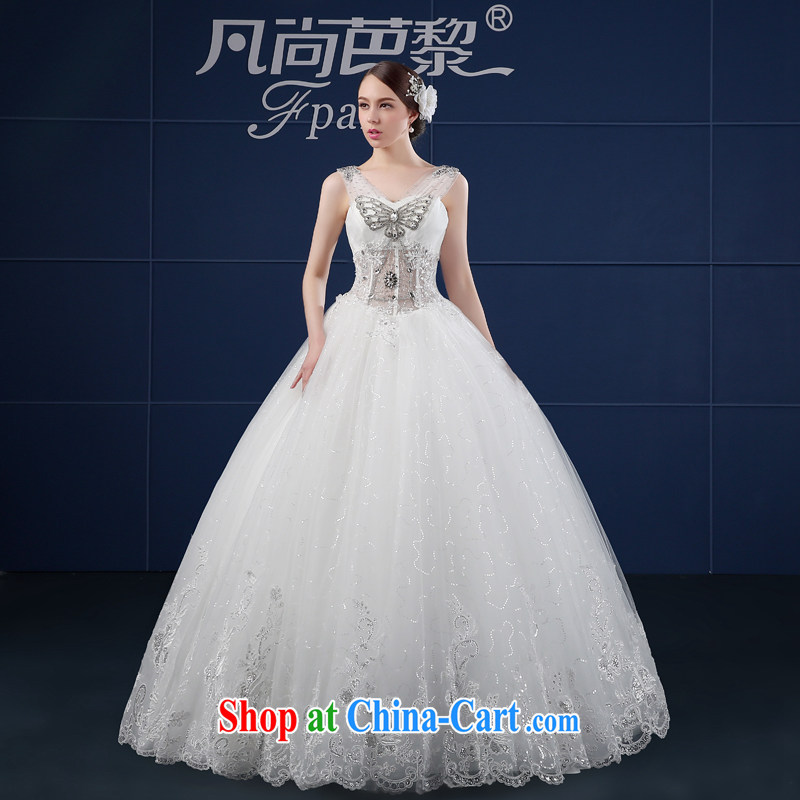Double-shoulder wedding dresses 2015 new spring and summer Korean version the code simple beauty custom alignment, bridal wedding summer white XXL