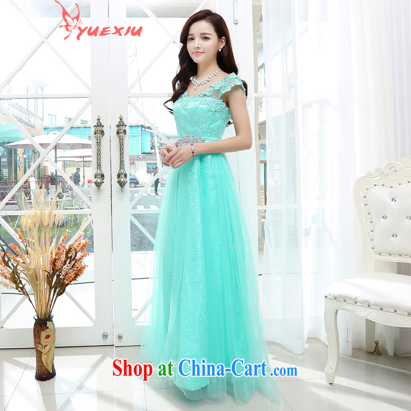 To show bridal wedding dress 2015 new stylish V collar wrapped around his chest bows beauty service women's clothing uniforms dresses HC 569 water blue XL