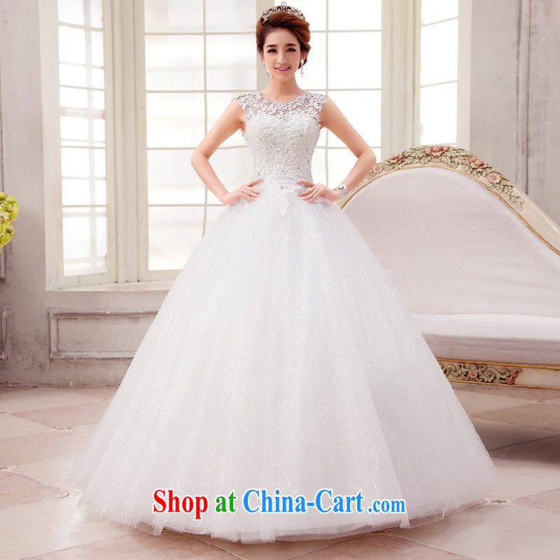 Kou Connie white with wedding dresses 2015 new spring and summer fashion round collar package shoulder Korean-style bridal double-shoulder type sleeveless large code White home yarn white tailored final 7 day