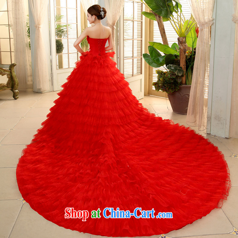 The code is bare chest red wedding dresses 2015 summer Korean-style with luxurious tail bridal shaggy skirts JNHS 0015 red tail tailored final 7 day