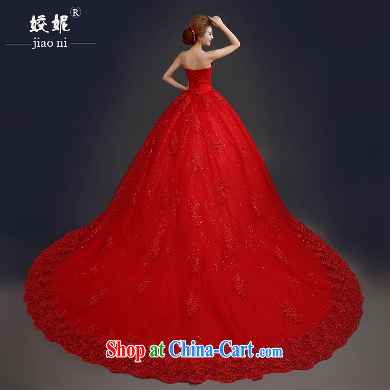Kou Connie original large code erase chest red wedding dresses 2015 spring and summer Korean-style with luxurious tail bridal shaggy dress graphics thin girls simple bridal red wedding dresses red M5 tail tailored final 7 day