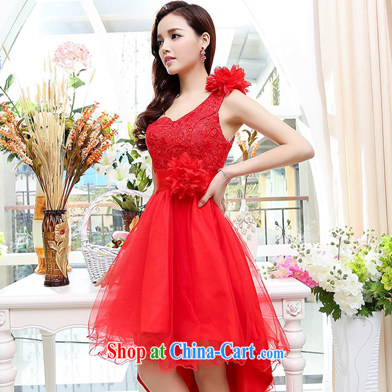 UYUK delivery 2015 new stylish wedding toast clothing female single shoulder lace gauze canopy skirts long-tail dress dresses red XL