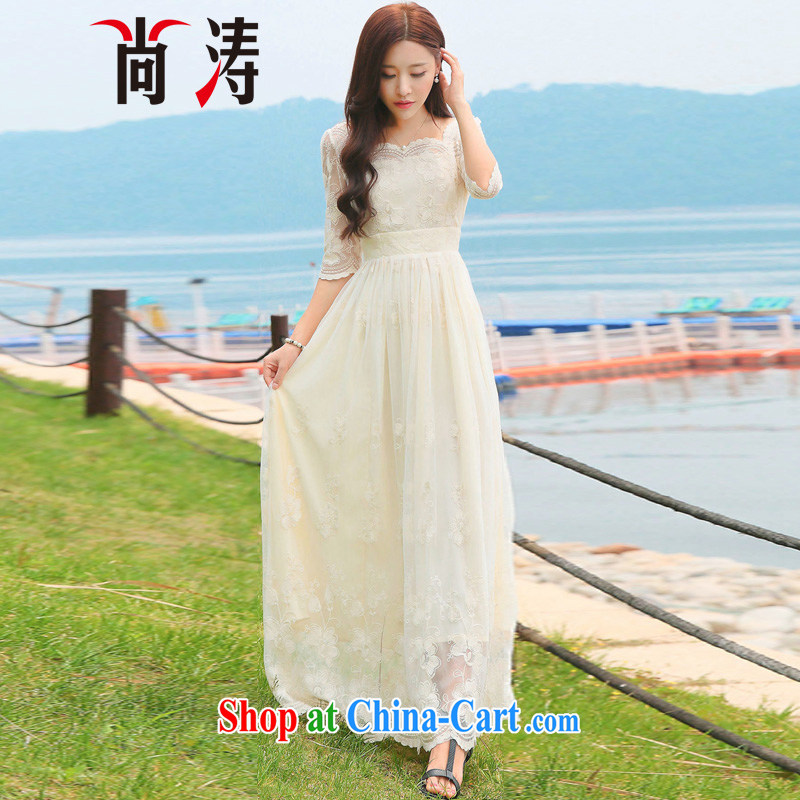 Hu Jintao was 2015 summer new embroidery flowers exclusive lace dresses style fashion dress short-sleeve fairy skirt dress long skirt C 0017 M apricot L