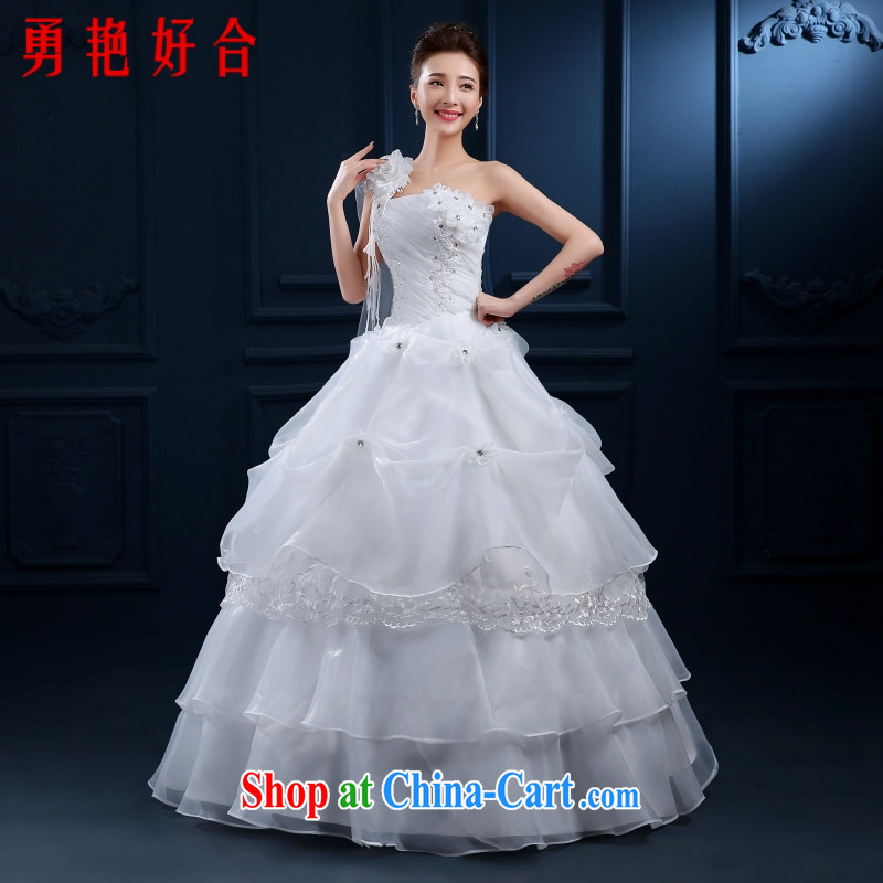 2015 new wedding dresses and stylish Korean-style single shoulder to align the code thick MM graphics thin wedding spring and summer classic style white L