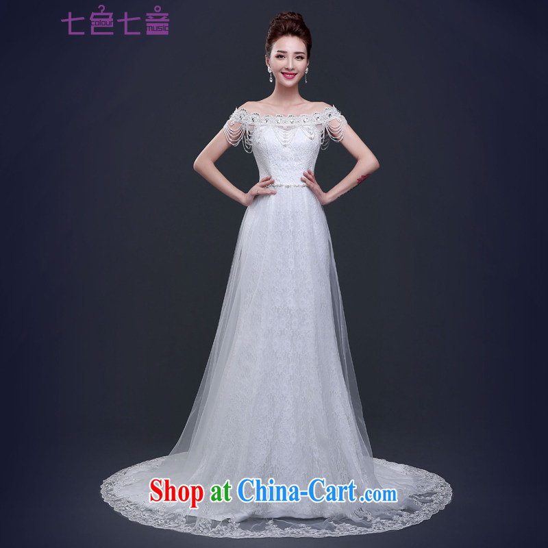 7 color 7 tone Korean version 2015 new word for shoulder chest bare tail lace beauty crowsfoot with large code wedding dresses H 072 white tailored _final_