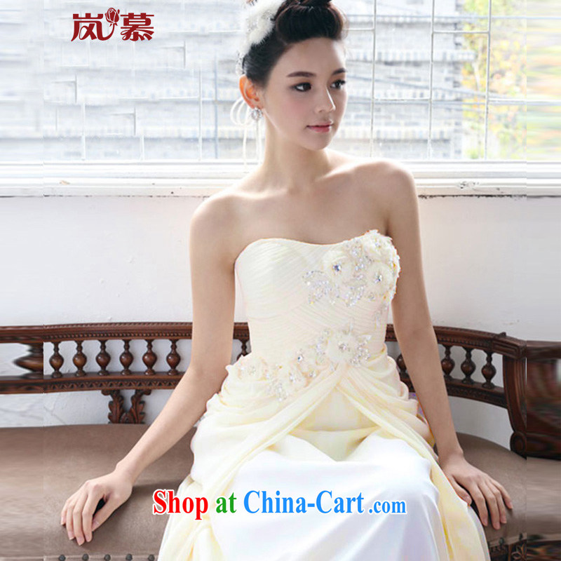 LAURELMARY sponsors the new Korean dress bridal new wedding dresses, chest bare little flowers nails Pearl dress banquet night ceremony clothing champagne color. Size