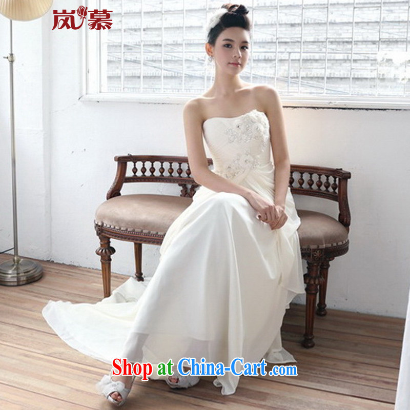 LAURELMARY sponsors the new Korean dress bridal new wedding dresses, bare chest small flowers nails Pearl dress banquet night ceremony clothing champagne color. Size, sponsors, and shopping on the Internet