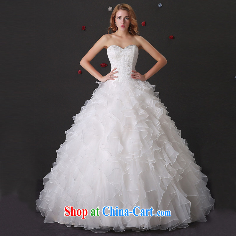 DressilyMe custom wedding dresses 2015 wedding dresses spring and summer new bride's bare chest beauty flouncing Princess shaggy dress with straps ivory - out of stock XL