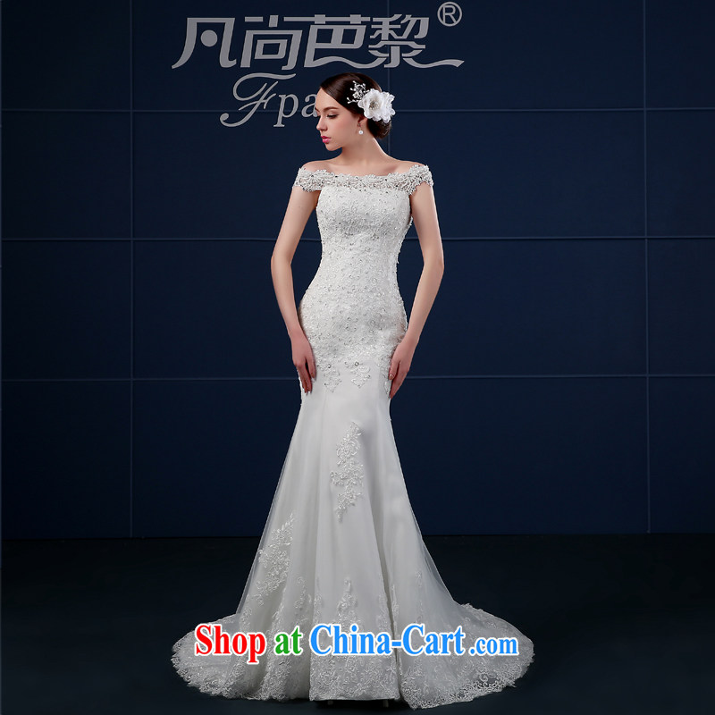 Bridal wedding dresses 2015 summer New Field shoulder-tail end crowsfoot wedding summer cultivating Korean bridal shoulders minimalist white XXL