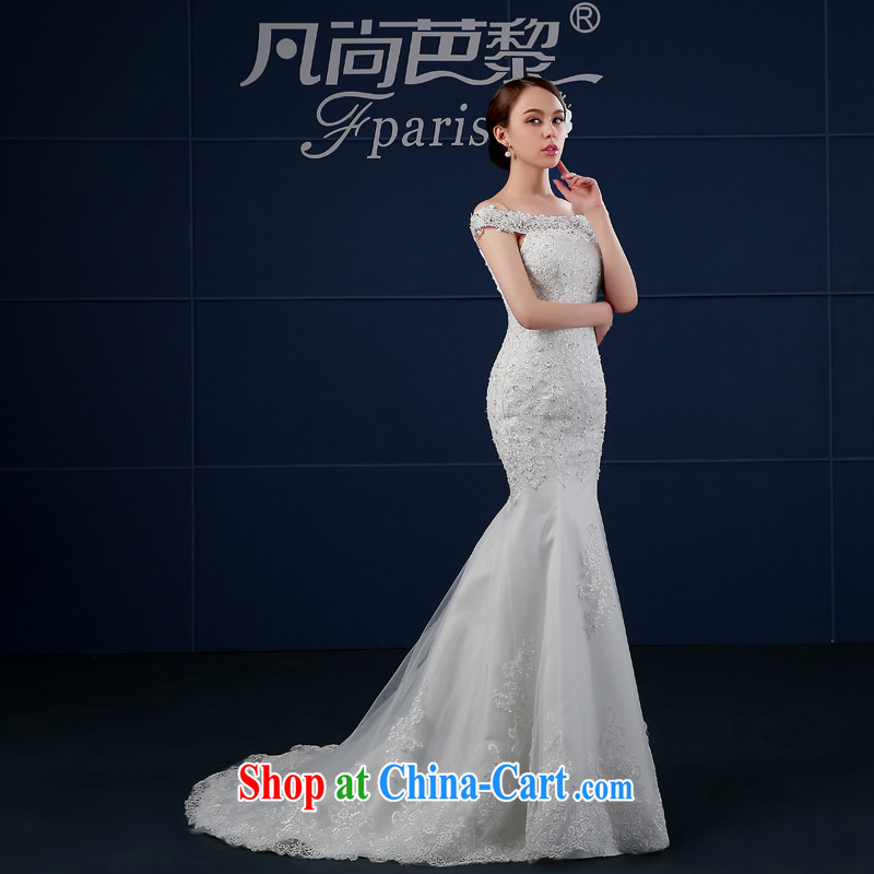 Bridal wedding dresses 2015 summer New Field shoulder-tail crowsfoot wedding summer cultivating Korean bridal shoulders minimalist white XXL, where there is hip hop Lai (FSUNPARES), and, on-line shopping