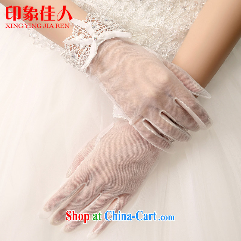 Impression Leigh 2015 new bridal gloves wedding lace short wedding accessories white gloves water drilling Korean dress gloves YS 1006