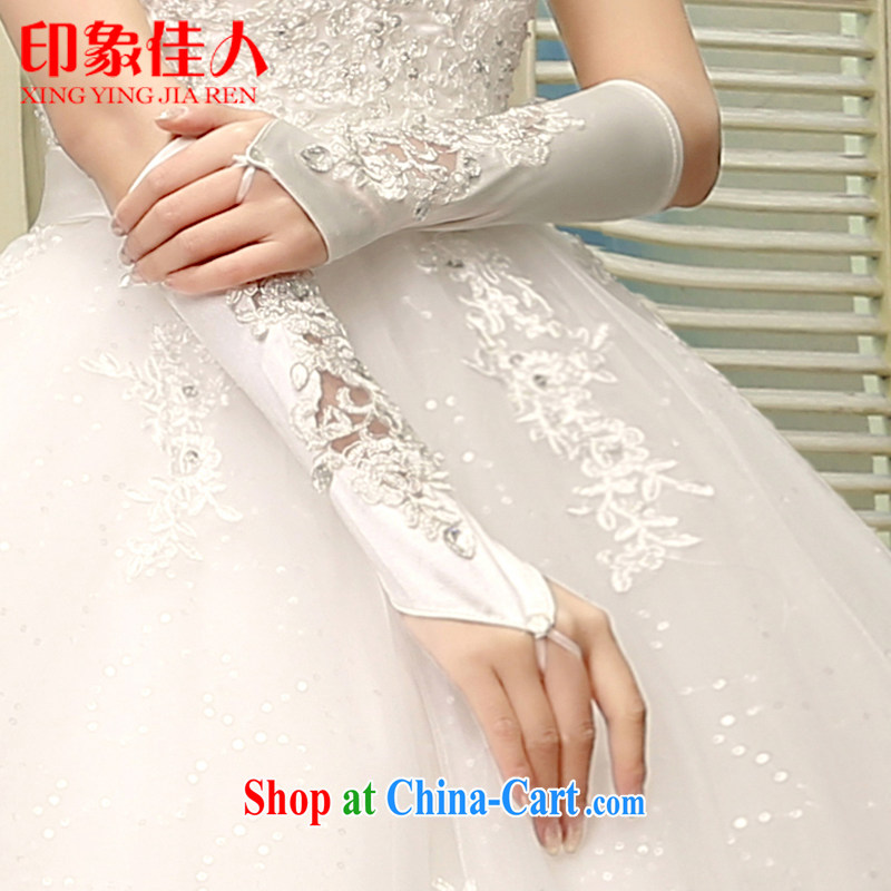 Leigh impression bridal gloves new marriage water drilling exposed the flowers wedding gloves wedding gloves wedding accessories YS 1008