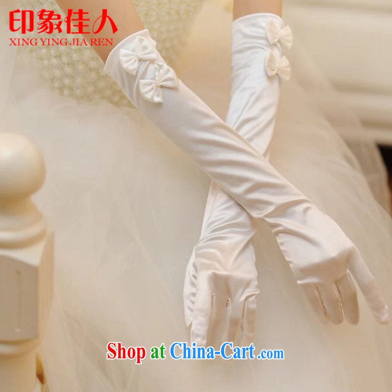 Impression Leigh 2015 new marriages long gloves wedding Satin bowtie etiquette banquet gloves YS 1010