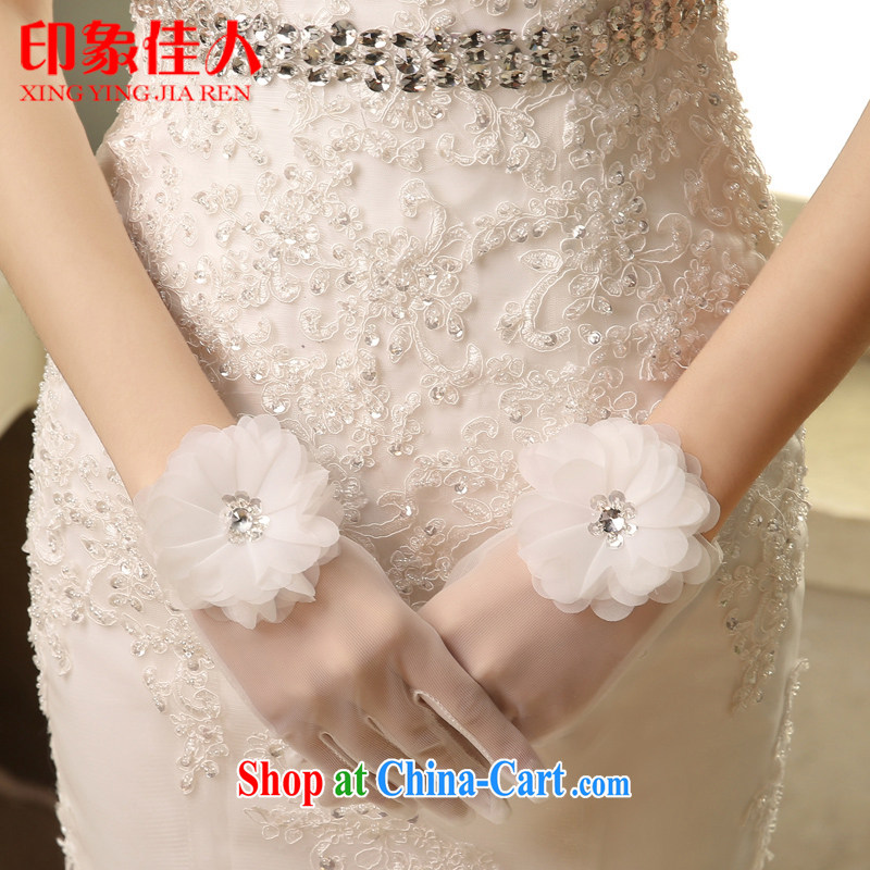 Impression Leigh 2015 new marriages short gloves wedding lace exposed to lace white transparent wedding gloves YS 1011
