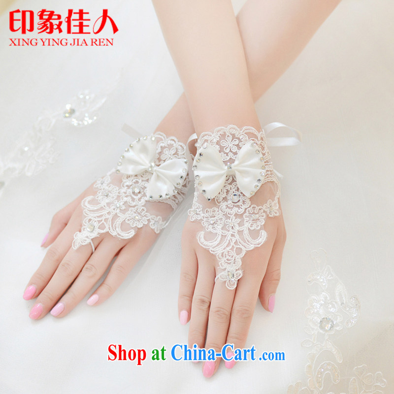 Impression Leigh 2015 new bride short lace gloves original marriage manually insert drill Pearl check the wedding accessories YS 1017