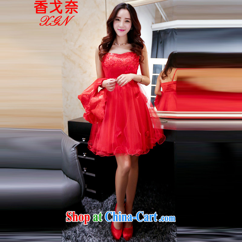 The beautiful valley 2015 new marriage bridal toast service bridal dresses cheongsam dress marriage red back door service red M