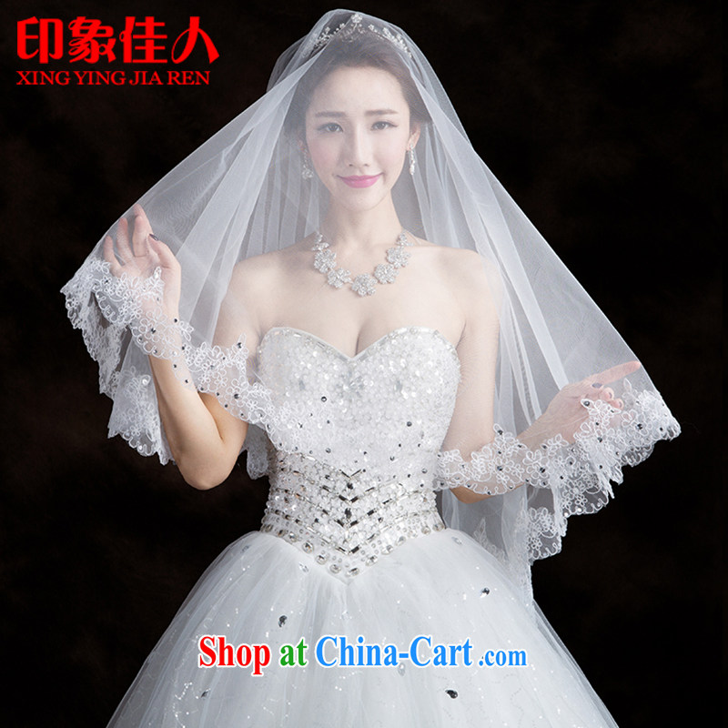 Impression Leigh 2015 new bride white head yarn lace flowers wedding and legal Korean-style wedding dress accessories YT 1002