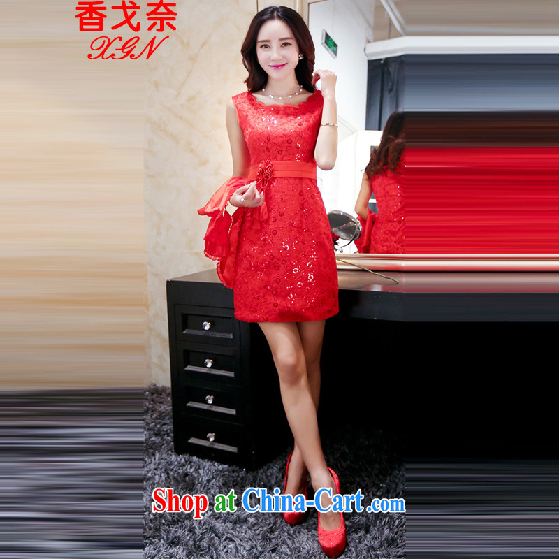 The Shannon Gore, 2015 new wedding dresses stylish Korean-style batch shoulder to align the code thick MM graphics thin wedding spring and summer classic style red M