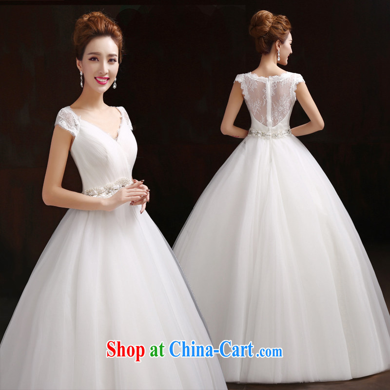 Pure bamboo love yarn yarn wedding dresses spring 2015 new Korean layout double-shoulder with custom bridal graphics thin the field shoulder wedding lace bridal back wedding white L