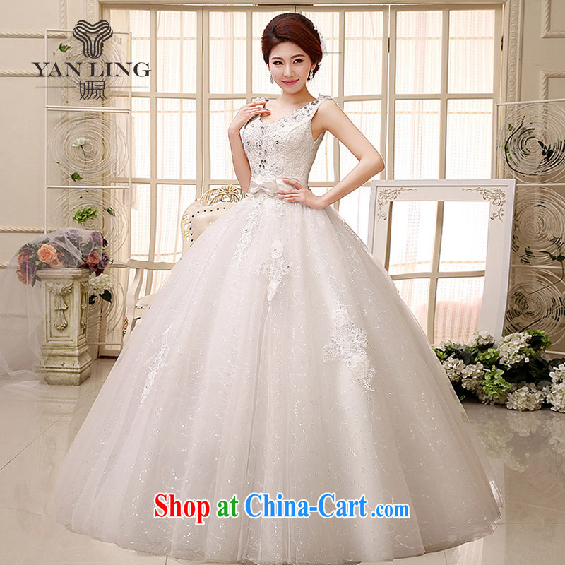 2015 exclusive fashion water-soluble lace the drill-shoulders V collar bridal wedding dresses HS 527 white XXL