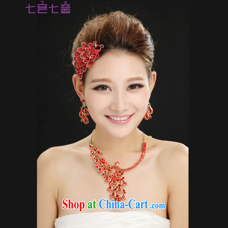 7-Color 7 tone New Red bridal crown and ornaments wedding dresses dresses jewelry accessories wedding jewelry hair accessories SP 002 Crown + necklace + ear fall all code